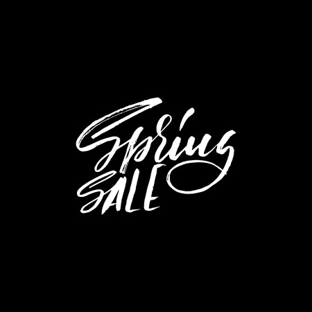 Hand lettered style spring design on a white background. Spring Sale hand drawn calligraphy letters. Vector illustration