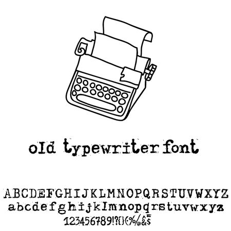 old typewriter: Vector old typewriter font. Vintage grunge font. Vector illustration