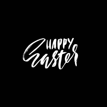 eroded: Happy Easter lettering for greeting card. Vector hand drawn illustration. Grunge inscription. Handwritten design