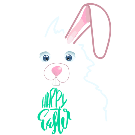 Happy Easter lettering for greeting card. Vector hand drawn illustration. Grunge inscription. Handwritten design