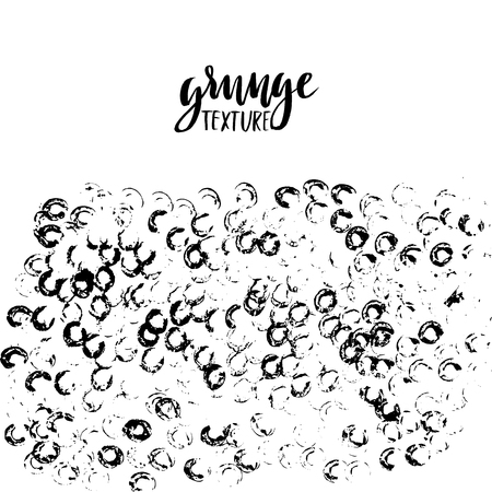 Round dots stamp background with empty space for your text. Circle shape. Grunge texture