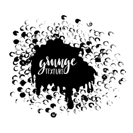 spattering: Round dots stamp frame with empty space for your text. Circle shape. Grunge texture