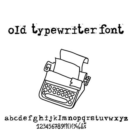 typewrite: Vector old typewriter font. Vintage grunge letters. Old destroyed printed letters.
