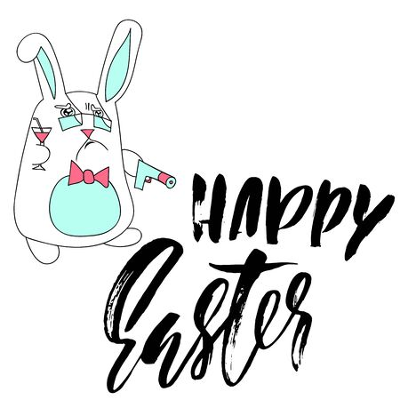 Happy Easter lettering for greeting card. Vector hand drawn illustration. Grunge dry brush inscription. Handwritten design.