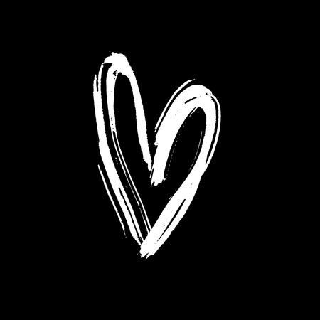 Grunge hand drawn ink heart. Valentine day dry brush print. Vector grunge illustration.