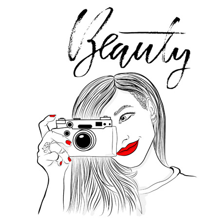 old photograph: Monochrome vector illustration. Beautiful girl with red lips and nails.