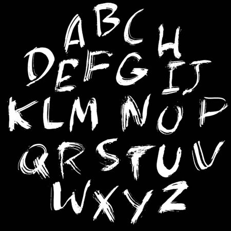sloppy: Hand drawn dry brush font. Modern brush lettering. Grunge style alphabet. Vector illustration.