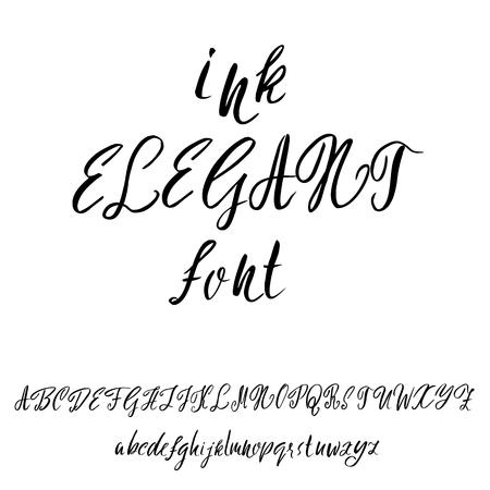 sloppy: Hand drawn font. Modern dry brush lettering. Elegant alphabet. Vector illustration.