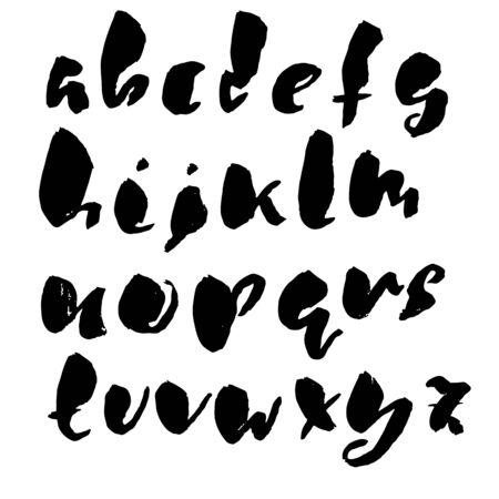Hand drawn dry brush font. Modern brush lettering. Grunge style alphabet. Vector illustration. Vector Illustration