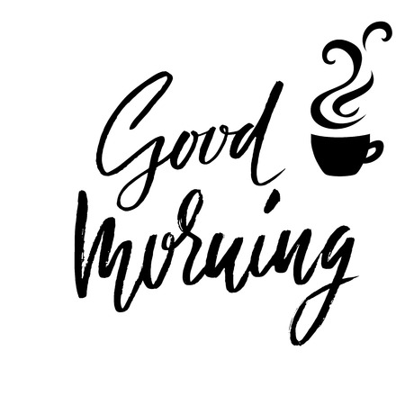 Good morning. Hand drawn lettering text. Handwritten calligraphy. Vector illustration. Illustration