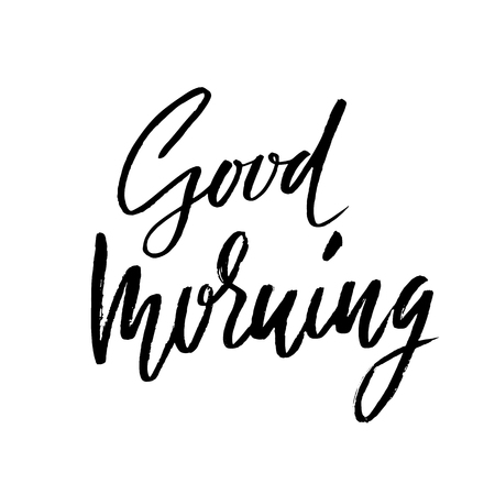 moods: Good morning. Hand drawn lettering text. Handwritten calligraphy. Vector illustration. Illustration