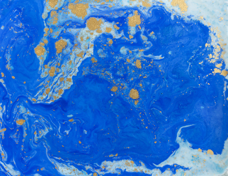 Blue and golden liquid texture. Watercolor hand drawn marbling illustration. Ink marble background. Imagens