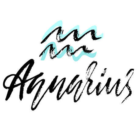 Zodiac sign of Aquarius. Astrology vector illustration. Sketch isolated on white background. Handwritten lettering design Stock Photo