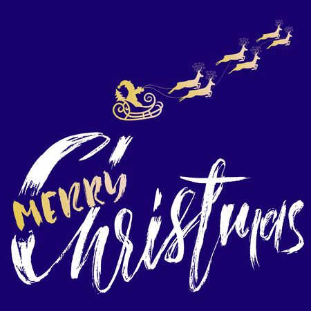 Silhouette Sleigh of Santa Claus and Reindeers. Merry Christmas Lettering. Vector inscription.