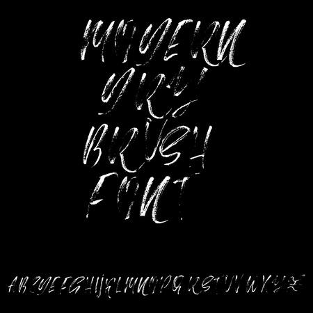 sloppy: Hand drawn dry brush font. Modern brush lettering. Grunge style alphabet. Vector illustration