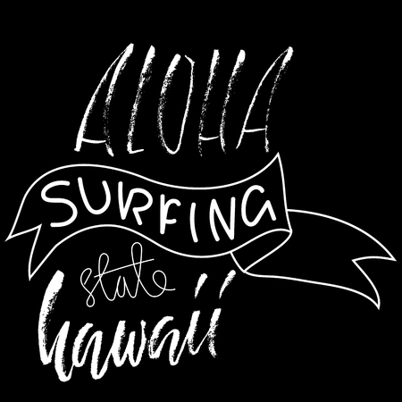 Hand drawn phrase Aloha Hawaii. Lettering design for posters, t-shirts, cards, invitations, banners. Vector illustration. Handwritten inscription. Ilustrace