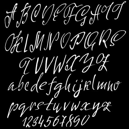 Hand drawn elegant calligraphy font. Modern brush lettering. Grunge style alphabet. Vector illustration Illustration