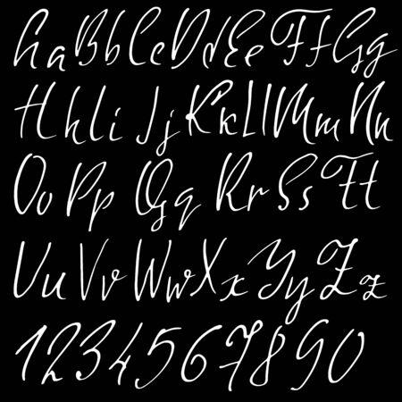 sloppy: Hand drawn elegant calligraphy font. Modern brush lettering. Grunge style alphabet. Vector illustration Stock Photo