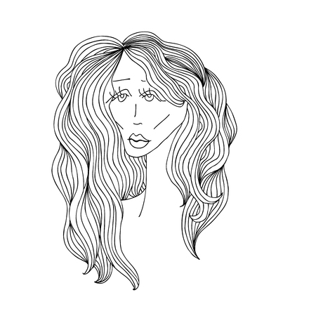 Sad woman with beautiful hair. Digital sketch grafic black and white style. Vector illustration Illustration