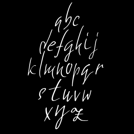 Hand drawn elegant calligraphy font. Modern brush lettering. Grunge style alphabet. Vector illustration. Illustration