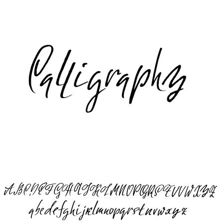 Hand getrokken elegante kalligrafiedoopvont. Moderne borstelbelettering. Grunge stijl alfabet. Vector illustratie. Stock Illustratie