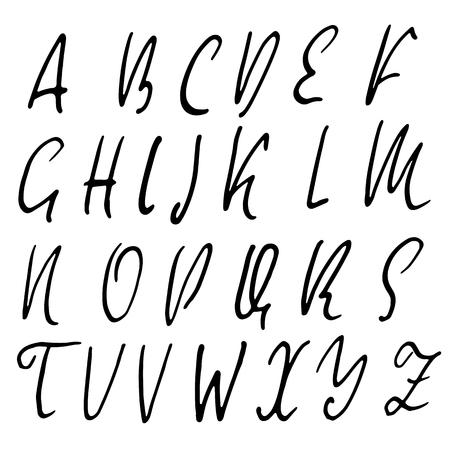 sloppy: Hand drawn elegant calligraphy font. Modern brush lettering. Grunge style alphabet. Vector illustration. Illustration