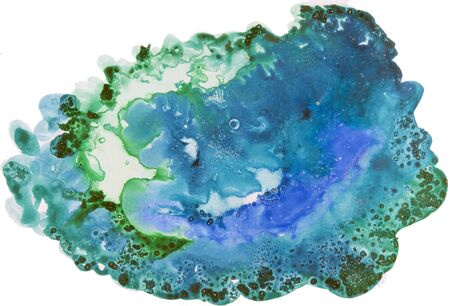 Watercolor background painting on white paper. Blue and green abstract texture. Color smudges surface. Stock Photo