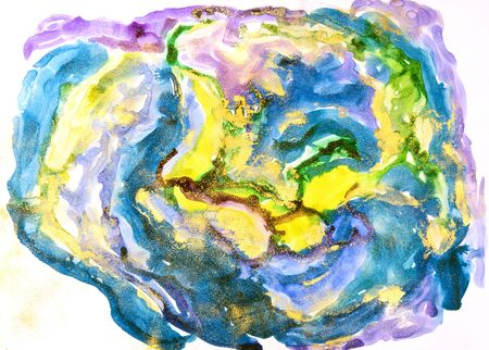 Watercolor background painting on white paper. Blue, green and yellow abstract texture. Color smudges surface. Stock Photo