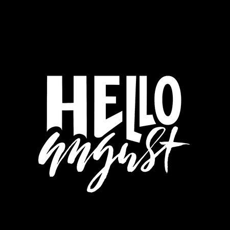 Hello august. Summer month lettering. Calligraphic inscription. Vector typography illustration. 일러스트