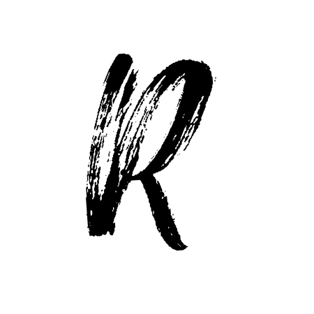 Letter R. Handwritten by dry brush. Rough strokes font. Vector illustration. Grunge style alphabet.