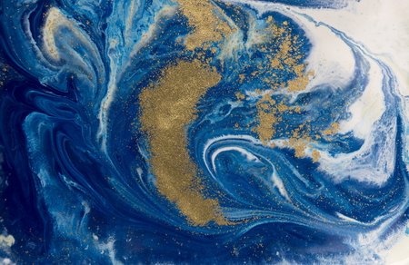 marbled effect: Marbled blue and golden abstract background. Liquid marble pattern