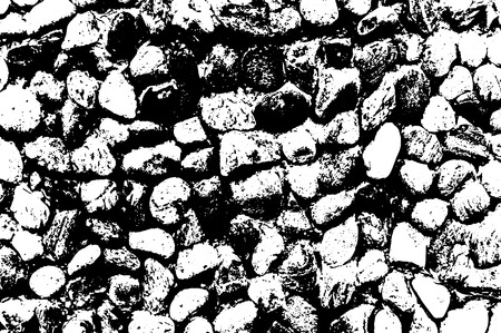 Vector sea stones background. Black and white texture. Vector illustration
