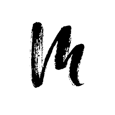 Letter M. Handwritten by dry brush. Rough strokes font. Vector illustration. Grunge style alphabet.