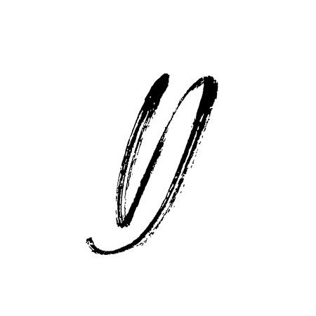 Letter D. Handwritten by dry brush. Rough strokes font. Vector illustration. Grunge style alphabet