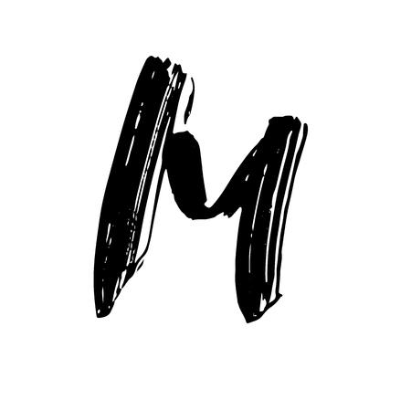 Letter M. Handwritten by dry brush. Rough strokes font. Vector illustration. Grunge style alphabet