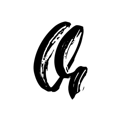 Letter Q. Handwritten by dry brush. Rough strokes font. Vector illustration. Grunge style alphabet Illustration