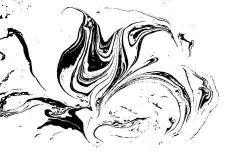 Black and white liquid texture. Watercolor hand drawn marbling illustration. Abstract vector background. Monochrome marble pattern. Ilustração