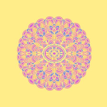 Ethnic pattern. Authentic mandala print on yellow background. Vector illustration Stock Photo