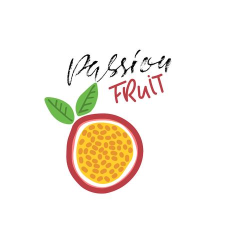 Passion fruit abstract illustration. Vegan food. Vector. Modern dry brush lettering.