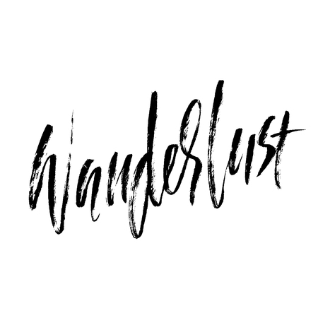 Wanderlust hand drawn phrase. Ink handwritten illustration. Modern dry brush calligraphy. Vector illustration Illustration