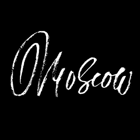 moscow city: Moscow, Russia. City typography lettering design. Hand drawn modern dry brush calligraphy. Isolated vector illustration