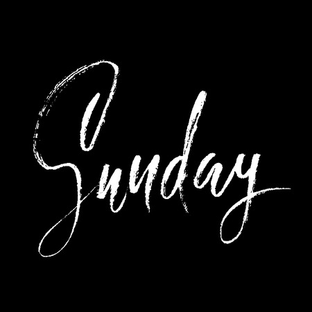 weekly: Sunday. Day of a week. Handdrawn modern brush lettering. Vector inscriprion. Calligraphy illustration Illustration