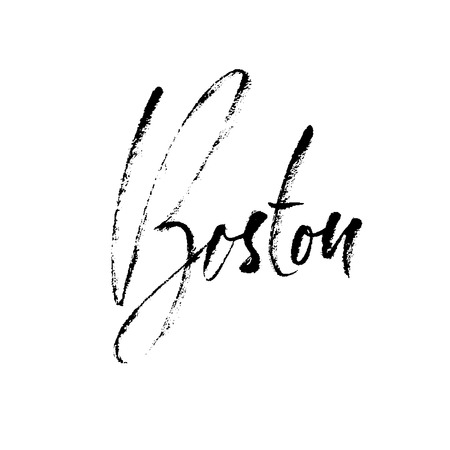 Boston, USA. City typography lettering design. Hand drawn modern dry brush calligraphy. Isolated vector illustration.