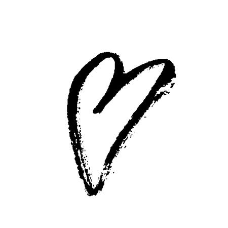Grunge hand drawn ink heart. Valentine day dry brush print.