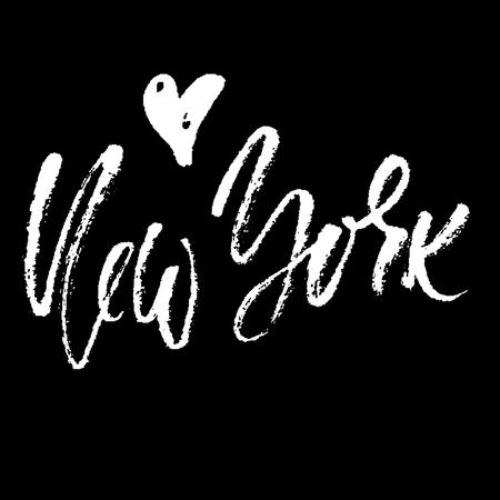 New York lettering. Hand drawn modern dry brush calligraphy. Isolated vector illustration