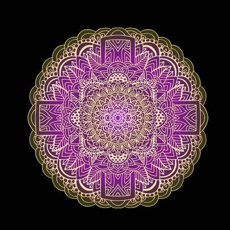 Ethnic pattern. Authentic mandala purple print on black background. Vector illustration