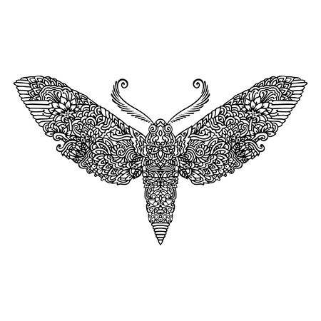 Night butterfly adult coloring book. illustration. Anti-stress coloring. Zentangle style. Black and white sketch. illustration. Asian pattern. Illustration