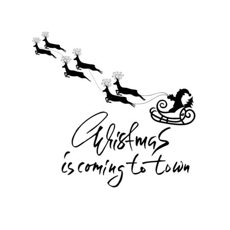 billet: Christmas lettering design. Christmas is coming to town. Vector illustration. Modern dry brush lettering. Holiday card.