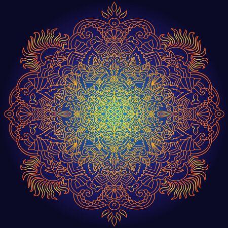 Ethnic pattern. Authentic orange mandala print on black background. Vector illustration.