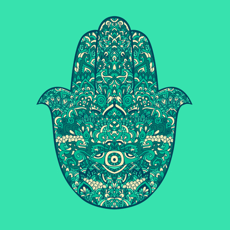 Hamsa hand drawn symbol. Fatima hand pattern. Vector illustration. Indian esoterics ornament for adult coloring books. Asian pattern. Gradient authentic background.